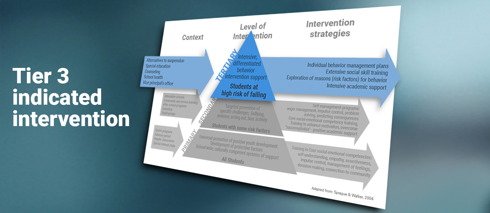 Banner image for the third tier of Ripple Effects' behavioral intervention program: Indicated interventions.